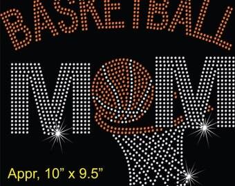 Rhinestone Basketball Mom Rhinestone Transfer Iron On Bling Applique