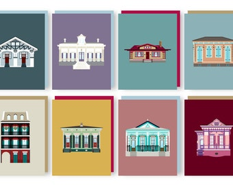 Houses of New Orleans Greeting Card Set (8 Pack), Architecture Louisiana