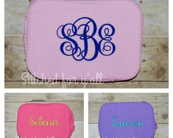 Monogrammed Waffle Cosmetic Bag / Bridal party gifts