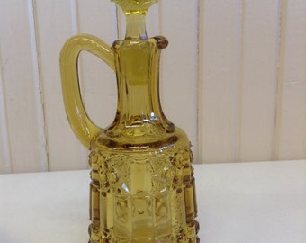 Multi-Faceted Yellow Glass Cruet with Square Stopper