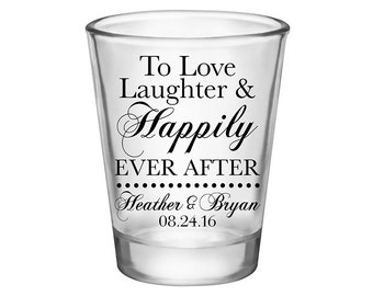 200x Wedding Shot Glasses Wedding Favors | 1.75 oz Clear | Love Laughter & Happily Ever After (1A) | Choose Imprint Color | READ DESCRIPTION