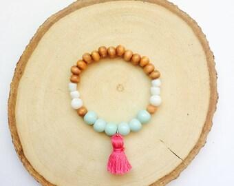 Baby Bracelet, Baby Jewelry, Tassel Bracelet, Baby Shower Gift, Blessing Bracelet, Baby Gift, Baby Bracelet Gold--Wood, Mint, Pink