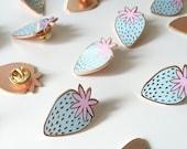 Pastel Strawberry enamel pin / light blue enamel pin / girl gang / rose gold pin / hard enamel pin / strawberry badge / FREE UK SHIPPING