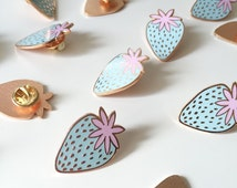 Pastel Strawberry enamel pin / light blue enamel pin / girl gang / rose gold pin / hard enamel pin / strawberry badge / FREE UK SHIPPING