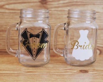 Bride and groom mason jar set