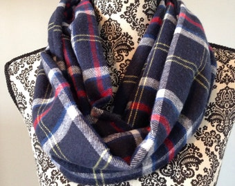 Flannel Infinity Scarf Navy, Red White and Yellow Plaid