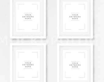8x10 16x20 24x30 set of four vertical digital white frame mockup styled photography poster mockup white wall background instant download