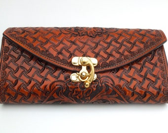 Vaquero Tooled Leather Clutch/Wallet in Cognac
