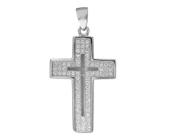 1 Pc Sterling Silver 29x17.9 mm Cut-Out Cross Pendant W/ CZ (SSP100122)