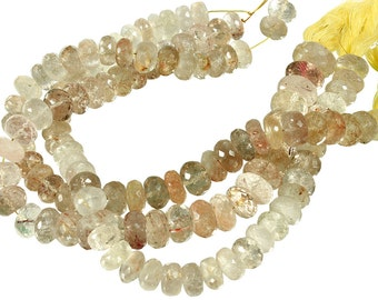 10 IN Strand 9-10 mm Rutilated Quartz Rondelle Faceted Gemstone Beads (RUQRLF0009)