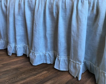 Natural linen bedskirt with vintage ruffle hem, bed ruffles, linen dust ruffles, bed skirts, shabby chic bedding, Romantic country