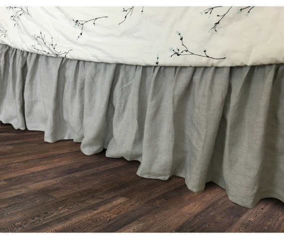Grey Linen King Bed Skirt : Stone grey bed skirt in natural linen by