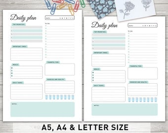 """Daily Planner Inserts: """"DAILY PLANNER Printable"""" Daily To Do List, Day Organizer, Daily Schedule, Desk Planner"""