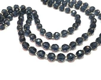 Navy Glass 3 Strand Crystal Necklace 50s