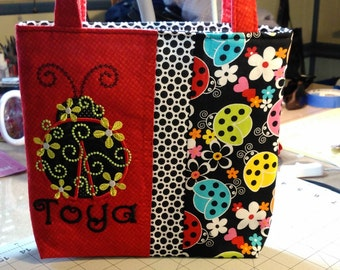 Custom/Personalized Book Tote with Matching Cosmetic Bag