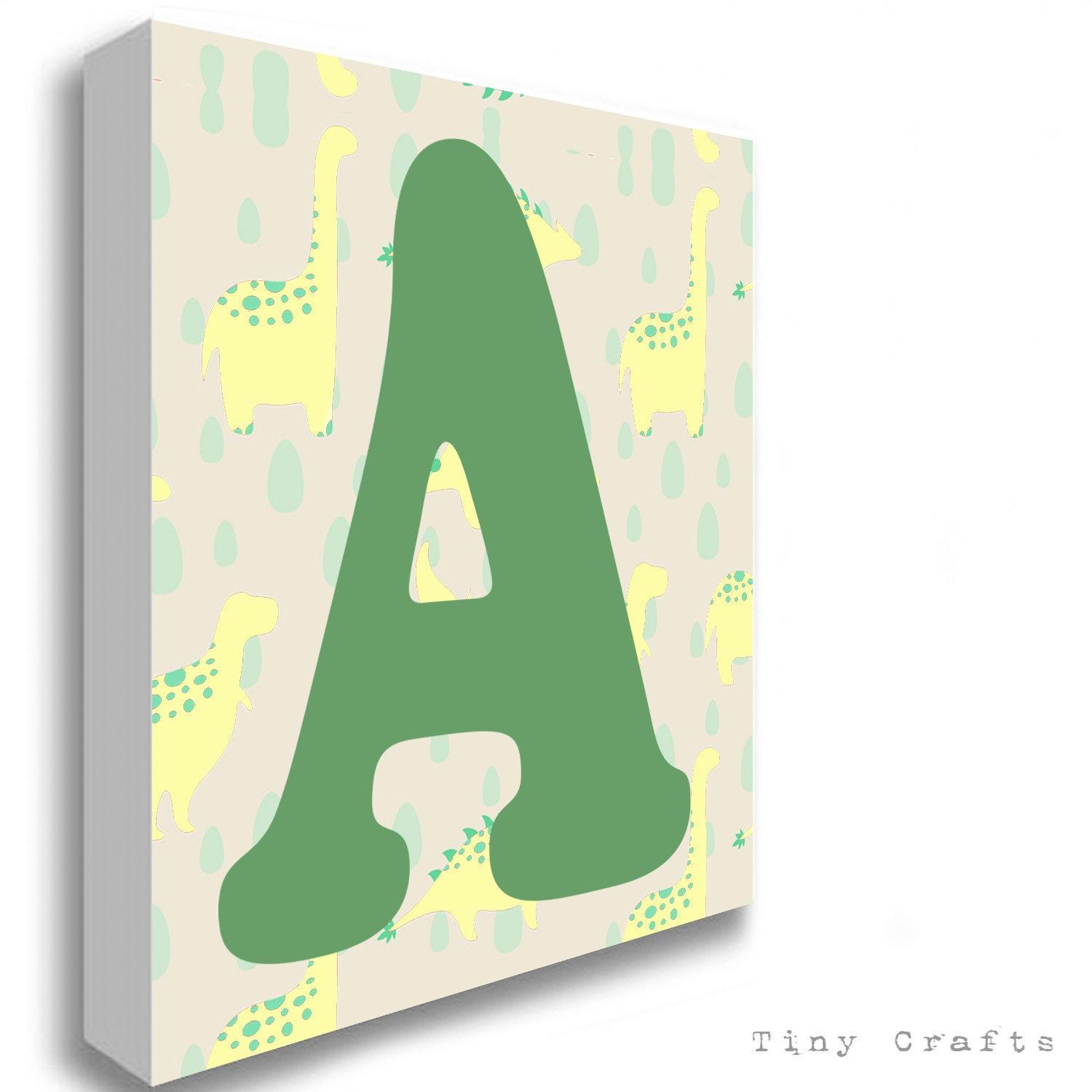 Dinosaur yellow alphabet letter canvas print for Letter canvas