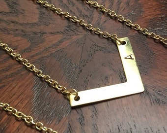 Gold Chevron Necklace (small) to personalize