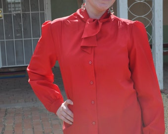 Vintage 1970s Sears Fashion Place Red Button Down Blouse with Tie Front
