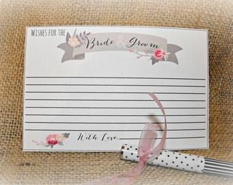 Wedding Advice Card, Bride and Groom Advice, Wedding, Bridal Shower, Printable Advice Card