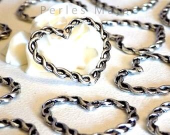 Lot de 6 anneaux tressés fermés forme coeur couleur argent antique 33x28xmm