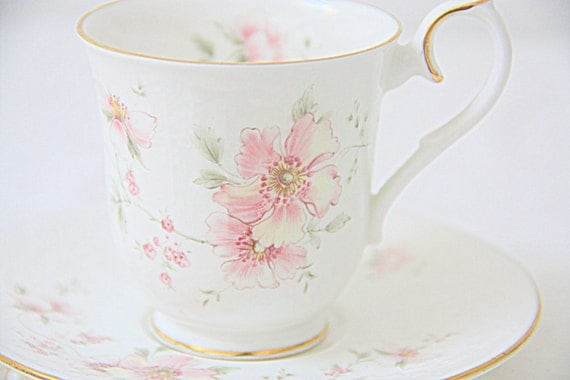 Vintage Royal Albert 'For All Seasons' Bone China Cup and Saucer, 'Breath of Spring', Pink Blossom Decor, England