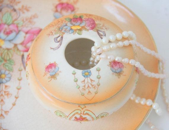 Antique Crown Devon Semi-porcelain Vanity Dresser Set , Flower Pattern, Handpainted, Edwardian Style,England