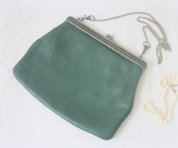 Vintage Green Leather Evening Bag, Purse, Metal Clasp and Chain Handle