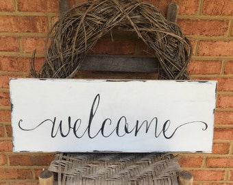Welcome sign for front door, porch decor, farmhouse style, welcome wooden sign, home and living, home decor, woodfairysigns, housewarming
