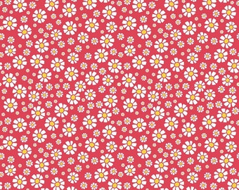 Strawberry Daisy Red from Riley Blake by the Half Yard