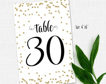 Printable Table Numbers 1 - 30 - Instant Download-GOLD GLITTER-Wedding Decor-Events-Anniversary Party-Any Occasion