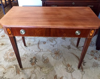 Lovely Vintage Console Mahogany Table Featuring Beautifully Handcrafted.Inlay