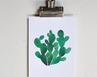 White Polka Dot Cactus Watercolor Print 5x7, wall decor, desert, painting, home decor, wall art
