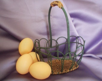 Wire Egg Basket / Egg Basket / Chicken Coop / Brown Eggs / Wood Basket / Vintage Basket & Eggs / Eggs For Sale / Country / Farm / Chickens