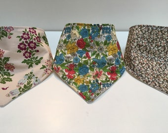 Set of three baby bandana dribble bib toddler teething cotton liberty print