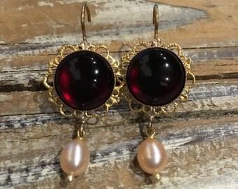 Vintage Brass filigree earrings with natural Garnet