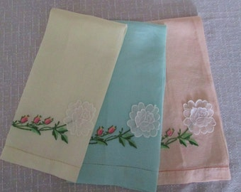 Three Vintage Pastel Guest Towels Green, Yellow and Pink with White Rose