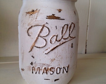 Rustic hand painted mason jar