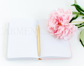 2 Pink Peonies Styled Stock Photography, Product Background, Notebook Styled Stock Image