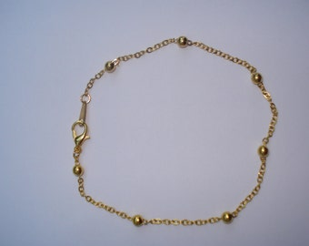 Gold Plated, Beaded Ankle Bracelet 9.5 ""
