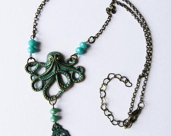 Octopus, necklace, antique bronze