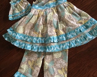Girls ruffle dress and pants with matching American Girl doll dress :-)