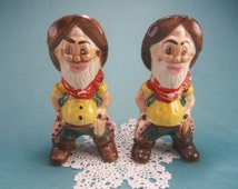 Vintage Cowboy Salt and Pepper Shakers, Western S & P, Wild West, Southwestern SP