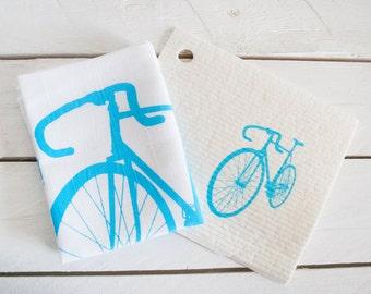 Set tableware towel and sponge cloth with motif gift for him / gift / present for bikers / bike, bike / light blue