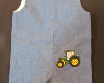Denim Shortall with Tractor Embroidery.  Size 12 months.