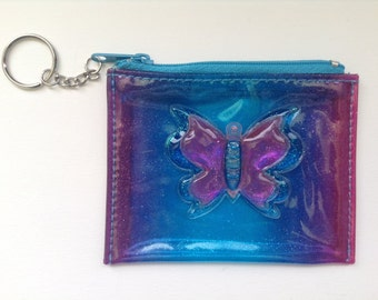Transparent Glittery Butterfly Coin Purse