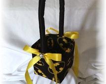 Batman Wedding Flower Girl Basket, Black and Yellow Wedding Flower Basket, Superhero Wedding Basket