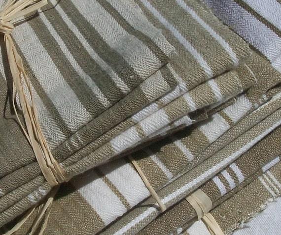 Lot of Vintage French Fabric Striped Ticking Pieces Linen Herringbone Weave Buff ecru stone Beige