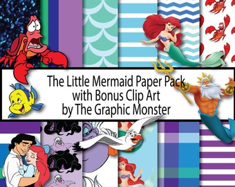 Little Mermaid Digital Paper, Disney Scrapbook Paper, Scrapbook Paper, Instant Download, Digital, Little Mermaid Scrapbook, Disney Paper