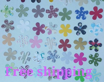 Flowers cutouts. 50 diecuts. 50 flowers in different colors. Free shipping.