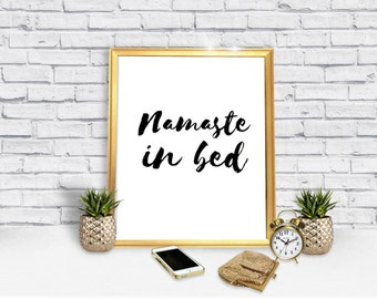 Namaste In Bed Poster - Funny - Yoga -  Poster Download -  Yoga Poster - Gag Gift - Humor - Posters - Digital Print -  Instant Download